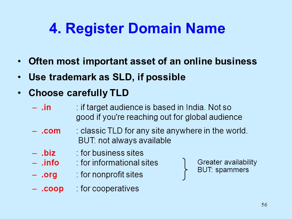 56 4. Register Domain Name Often most important asset of an online business Use trademark as SLD, if possible Choose carefully TLD –.in : if target au