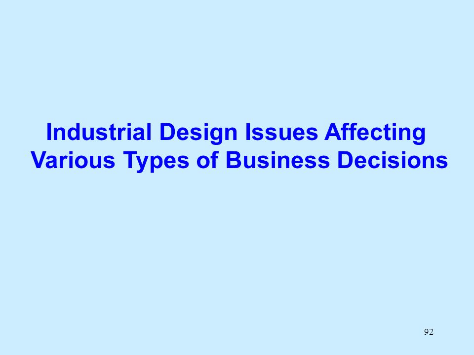 92 Industrial Design Issues Affecting Various Types of Business Decisions
