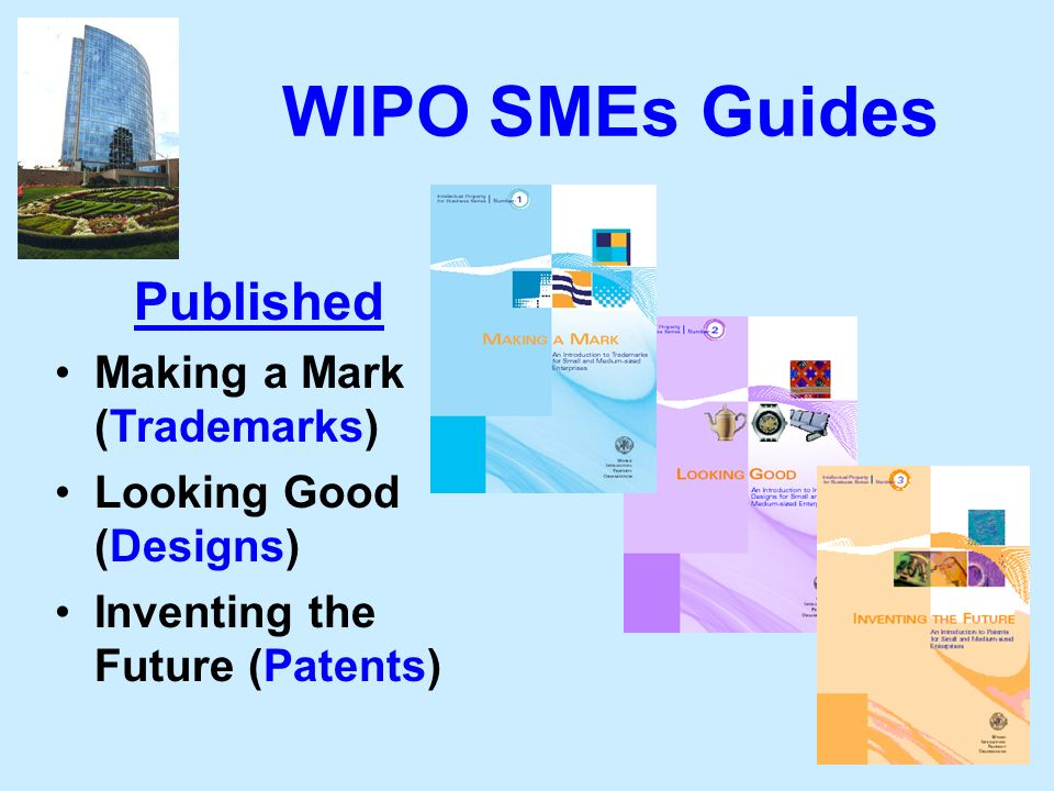 95 WIPO SMEs Guides Published Making a Mark (Trademarks) Looking Good (Designs) Inventing the Future (Patents)