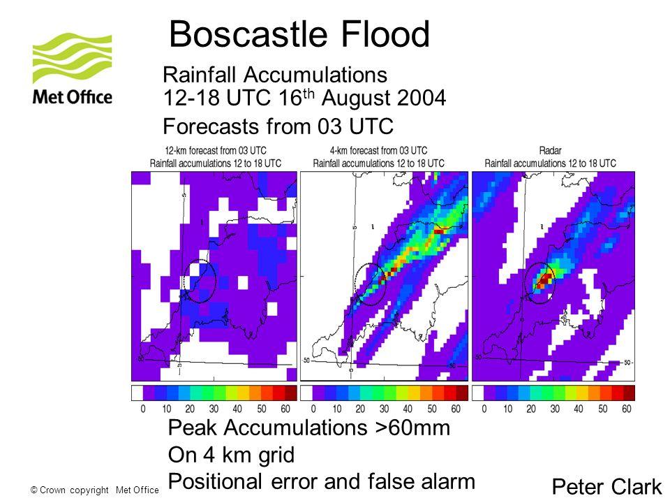© Crown copyright Met Office Rainfall Accumulations 12-18 UTC 16 th August 2004 12 km 4 km NIMROD radar Forecasts from 03 UTC Peak Accumulations >60mm On 4 km grid Positional error and false alarm Boscastle Flood Peter Clark