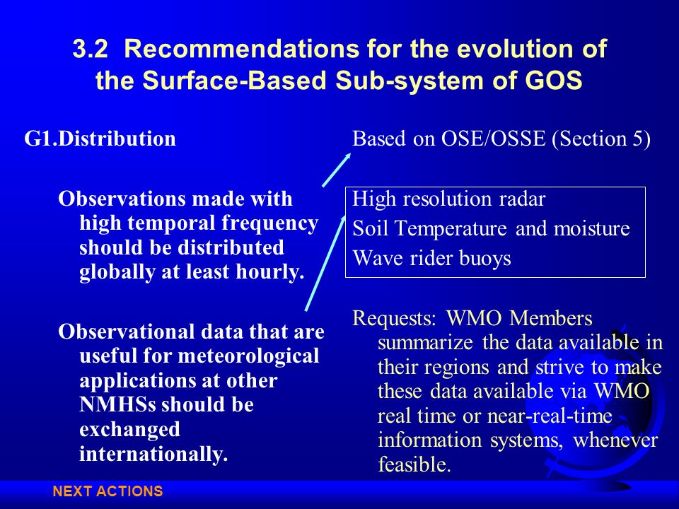 3.2 Recommendations for the evolution of the Surface-Based Sub-system of GOS G1.Distribution Observations made with high temporal frequency should be