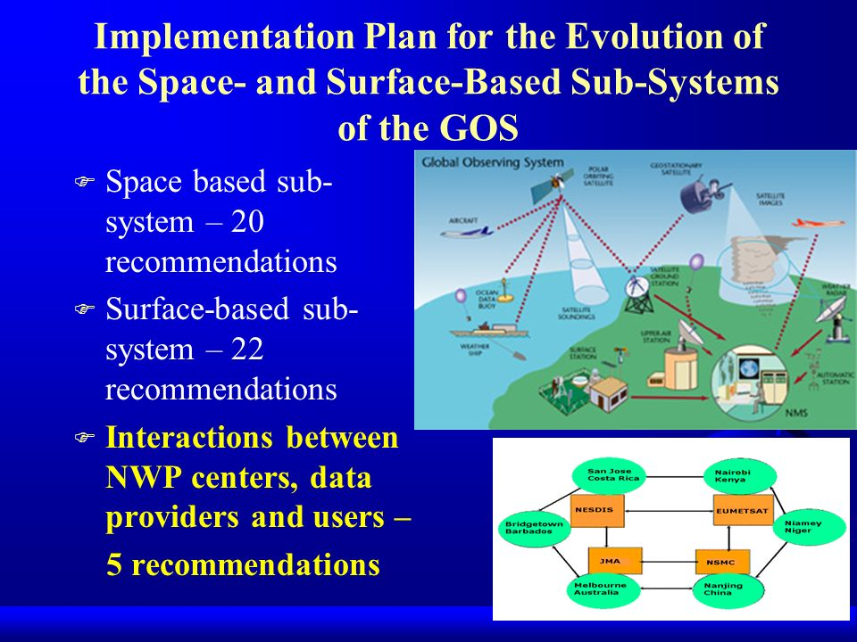 Implementation Plan for the Evolution of the Space- and Surface-Based Sub-Systems of the GOS F Space based sub- system – 20 recommendations F Surface-