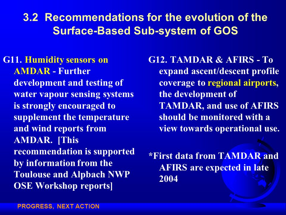 3.2 Recommendations for the evolution of the Surface-Based Sub-system of GOS G11. Humidity sensors on AMDAR - Further development and testing of water