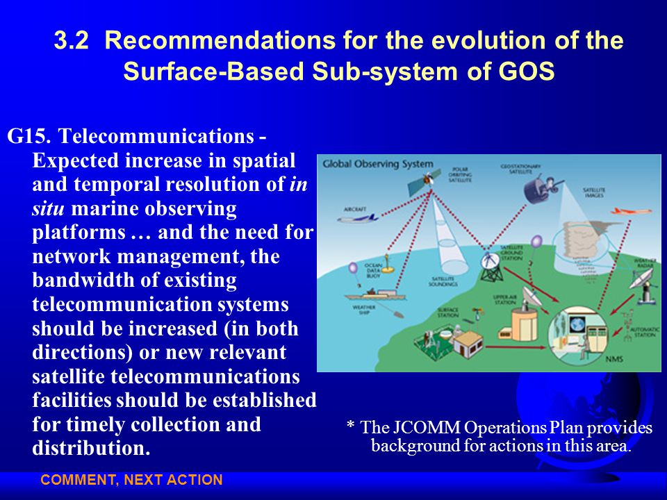 3.2 Recommendations for the evolution of the Surface-Based Sub-system of GOS G15. Telecommunications - Expected increase in spatial and temporal resol