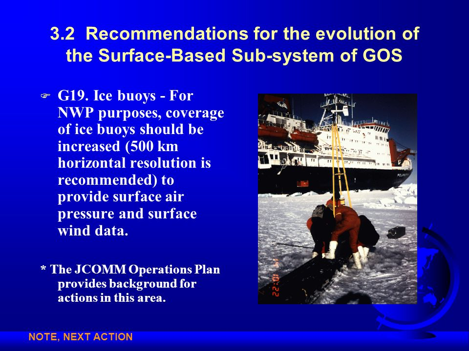 3.2 Recommendations for the evolution of the Surface-Based Sub-system of GOS F G19. Ice buoys - For NWP purposes, coverage of ice buoys should be incr