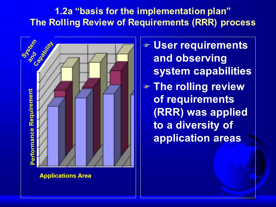 F User requirements and observing system capabilities F The rolling review of requirements (RRR) was applied to a diversity of application areas Syste