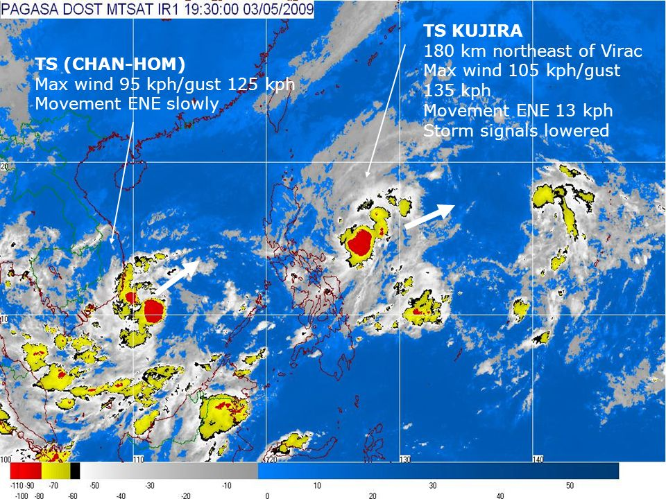 Animated Satellite Imagery TS KUJIRA 180 km northeast of Virac Max wind 105 kph/gust 135 kph Movement ENE 13 kph Storm signals lowered TS (CHAN-HOM) Max wind 95 kph/gust 125 kph Movement ENE slowly