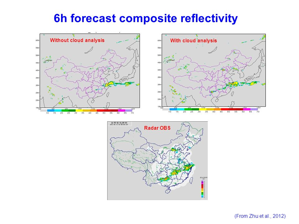 6h forecast composite reflectivity Radar OBS Without cloud analysis With cloud analysis (From Zhu et al., 2012)