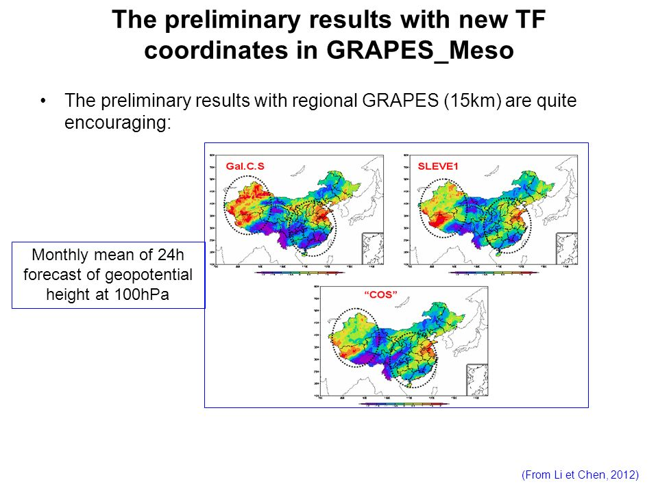 The preliminary results with new TF coordinates in GRAPES_Meso The preliminary results with regional GRAPES (15km) are quite encouraging: Monthly mean