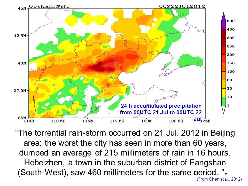 24 h accumulated precipitation from 00UTC 21 Jul to 00UTC 22 Jul The torrential rain-storm occurred on 21 Jul. 2012 in Beijing area: the worst the cit