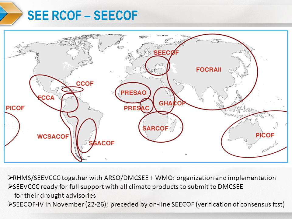 SEE RCOF – SEECOF RHMS/SEEVCCC together with ARSO/DMCSEE + WMO: organization and implementation SEEVCCC ready for full support with all climate produc