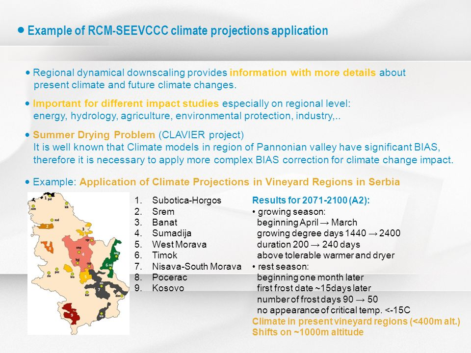 Regional dynamical downscaling provides information with more details about present climate and future climate changes. 1.Subotica-Horgos 2.Srem 3.Ban
