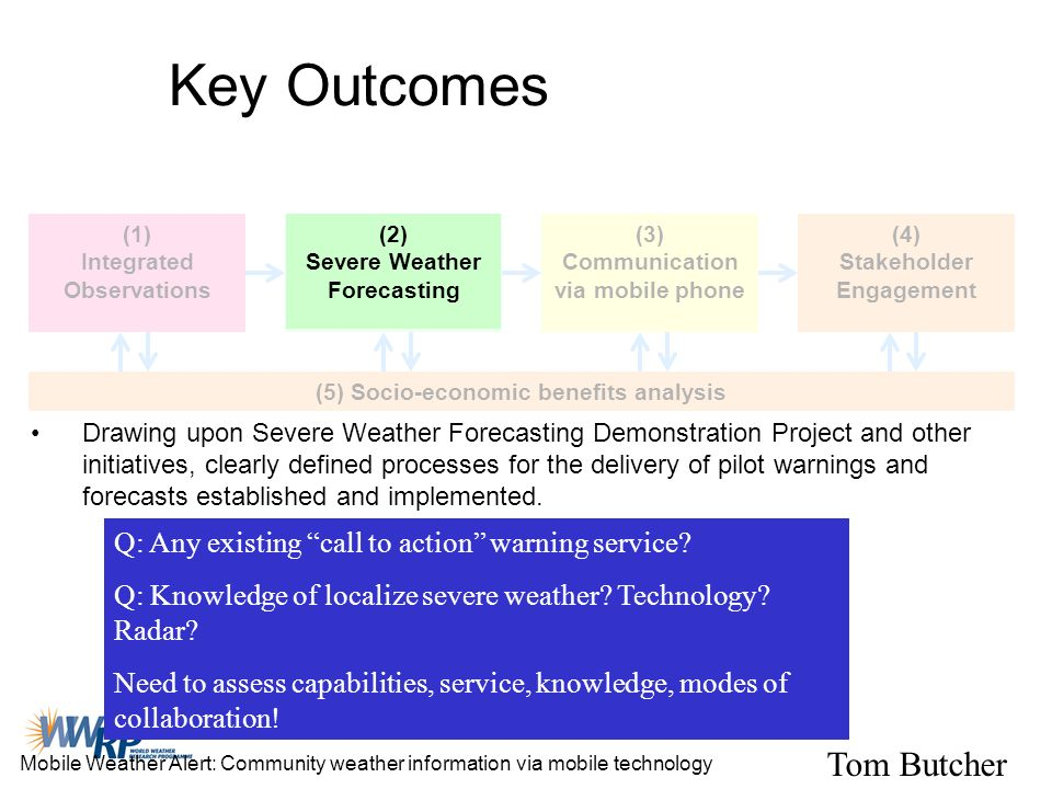Key Outcomes (1) Integrated Observations (2) Severe Weather Forecasting (3) Communication via mobile phone (4) Stakeholder Engagement (5) Socio-econom