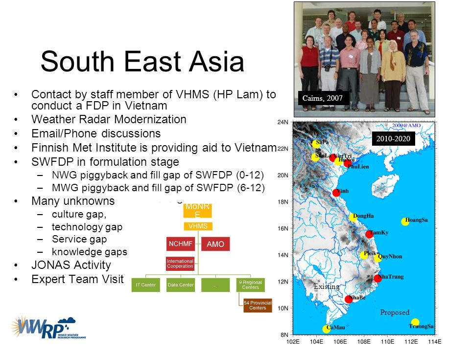 South East Asia Contact by staff member of VHMS (HP Lam) to conduct a FDP in Vietnam Weather Radar Modernization Email/Phone discussions Finnish Met I