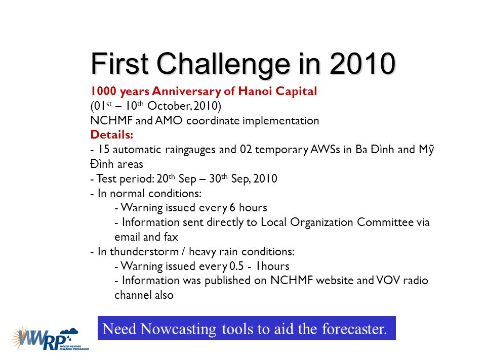 First Challenge in 2010 1000 years Anniversary of Hanoi Capital (01 st – 10 th October, 2010) NCHMF and AMO coordinate implementation Details: - 15 au