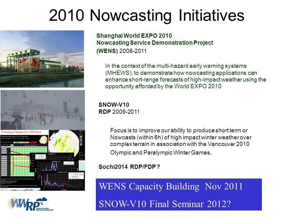 2010 Nowcasting Initiatives Shanghai World EXPO 2010 Nowcasting Service Demonstration Project (WENS) 2008-2011 In the context of the multi-hazard earl