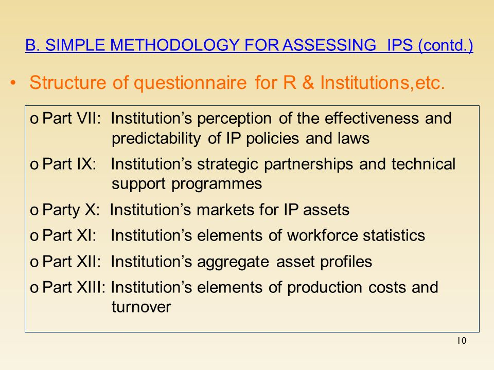 10 Structure of questionnaire for R & Institutions,etc.
