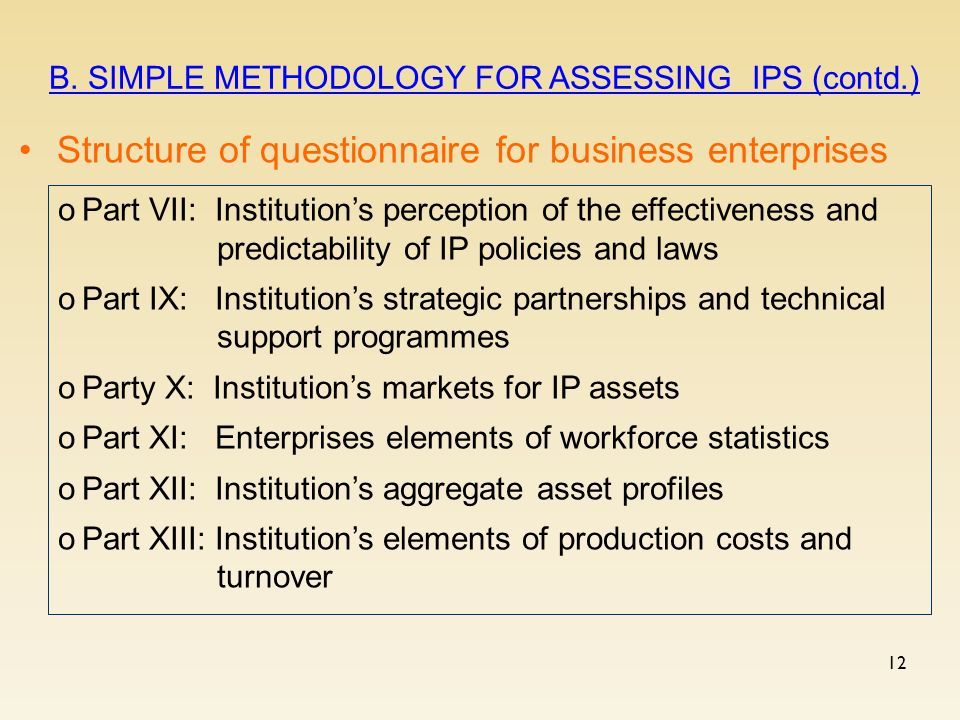 12 Structure of questionnaire for business enterprises B.