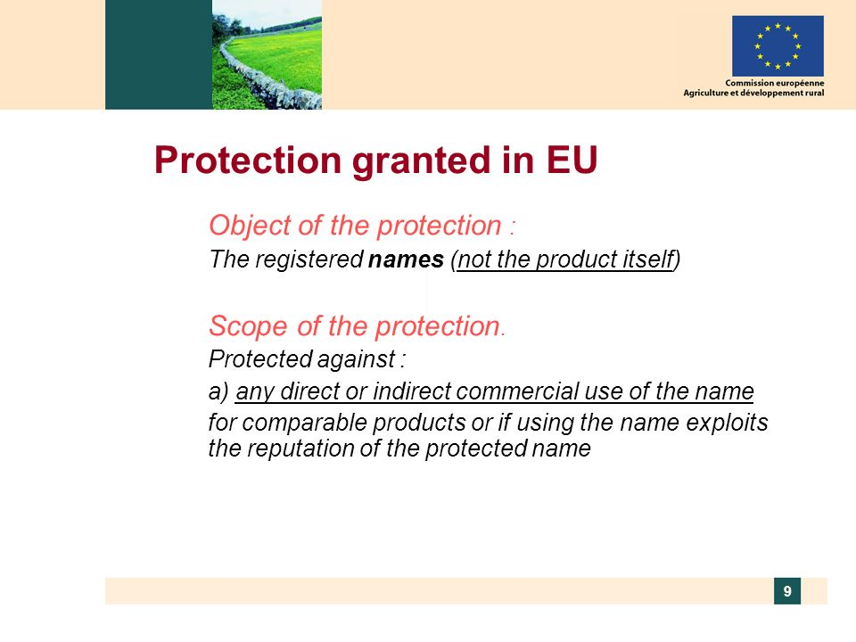10 Protection granted… b)any misuse, indication or evocation, even if - the true origin is indicated - the protected name is translated - the protected name is accompanied by type, method or similar c)any other false or misleading indications as to the provenance, origin, nature or essential qualities of the product d)any other practice liable to mislead the public as to the true origin of the product