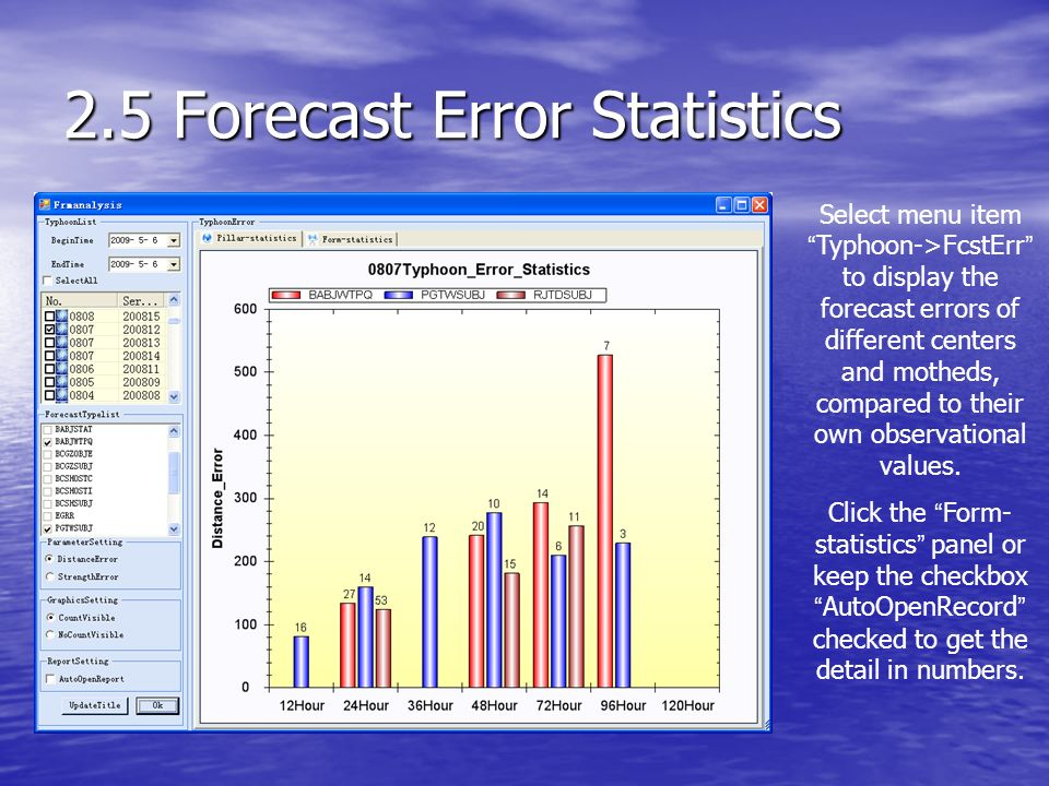 2.5 Forecast Error Statistics Select menu item Typhoon->FcstErr to display the forecast errors of different centers and motheds, compared to their own observational values.