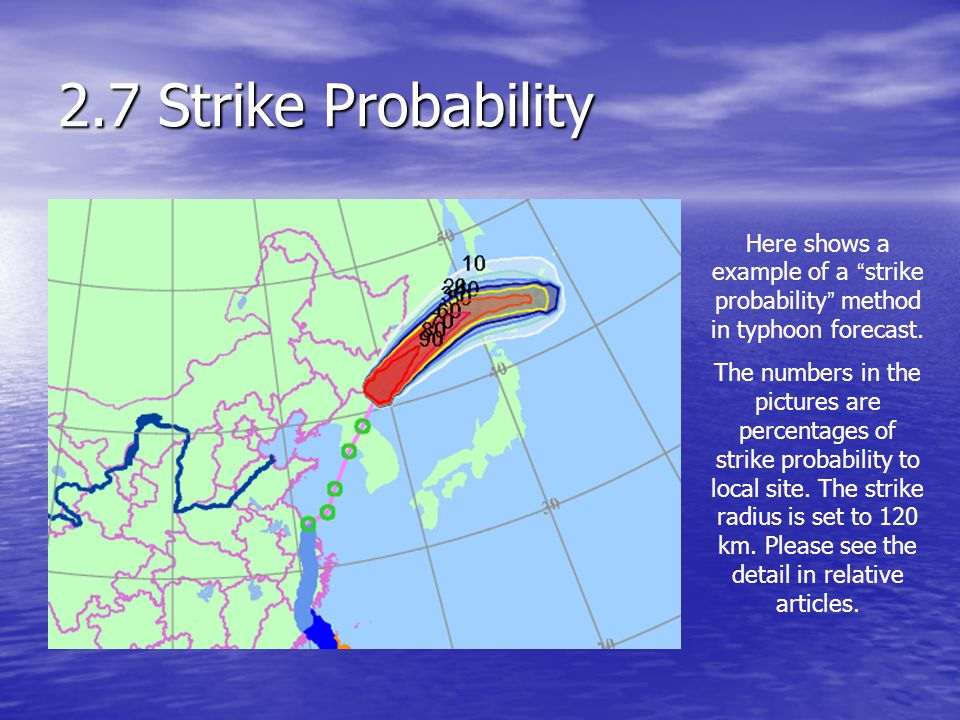 2.7 Strike Probability Here shows a example of a strike probability method in typhoon forecast.