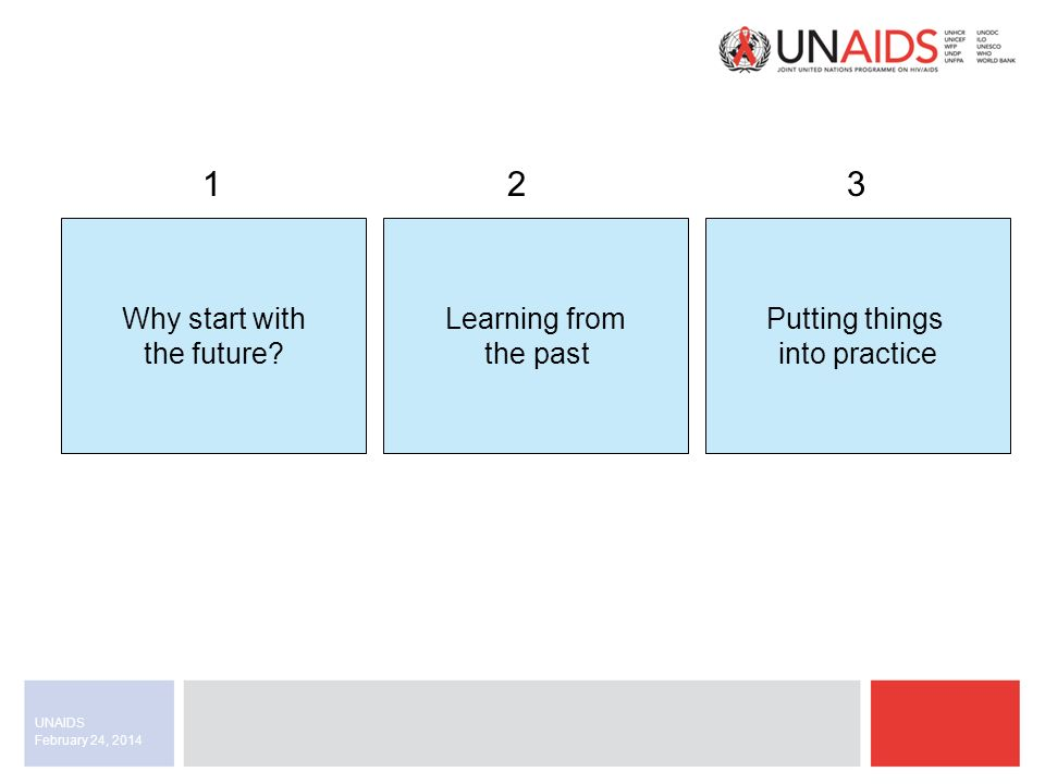 February 24, 2014 UNAIDS Example: meeting the requirements This is the type of requirements template we would include in a request for proposals.