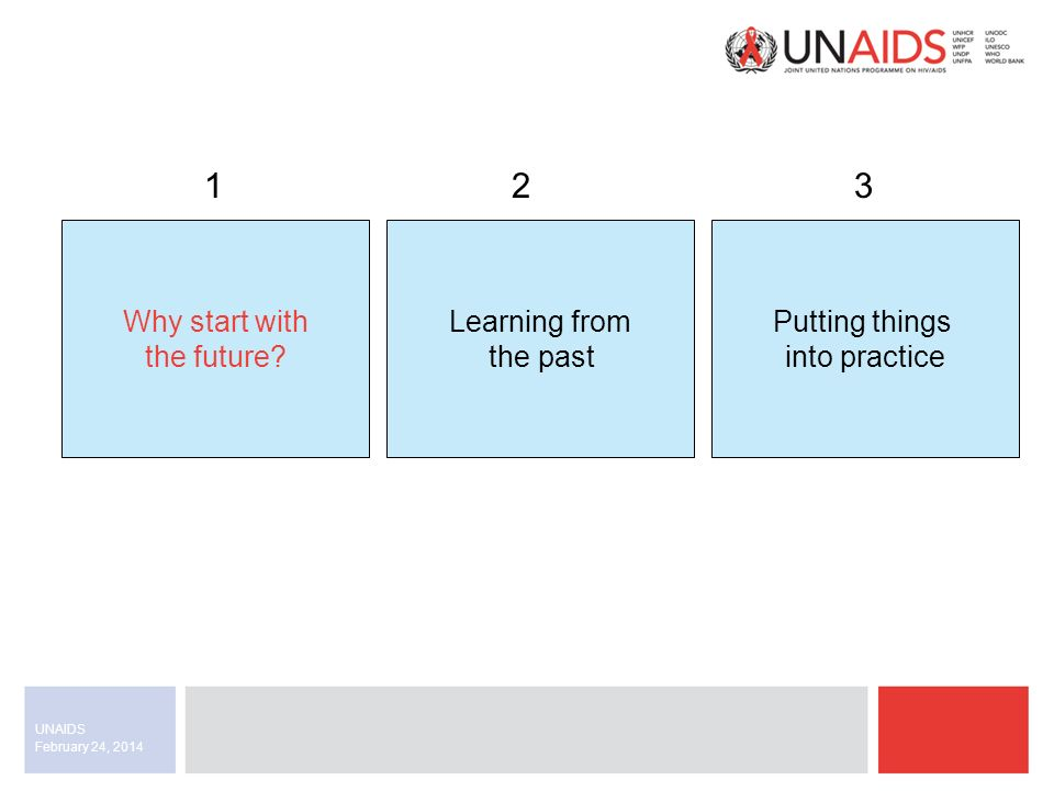 February 24, 2014 UNAIDS Mistakes are the best opportunity to learn from In this case, the lessons were: 1.Go off the shelf as much as possible.