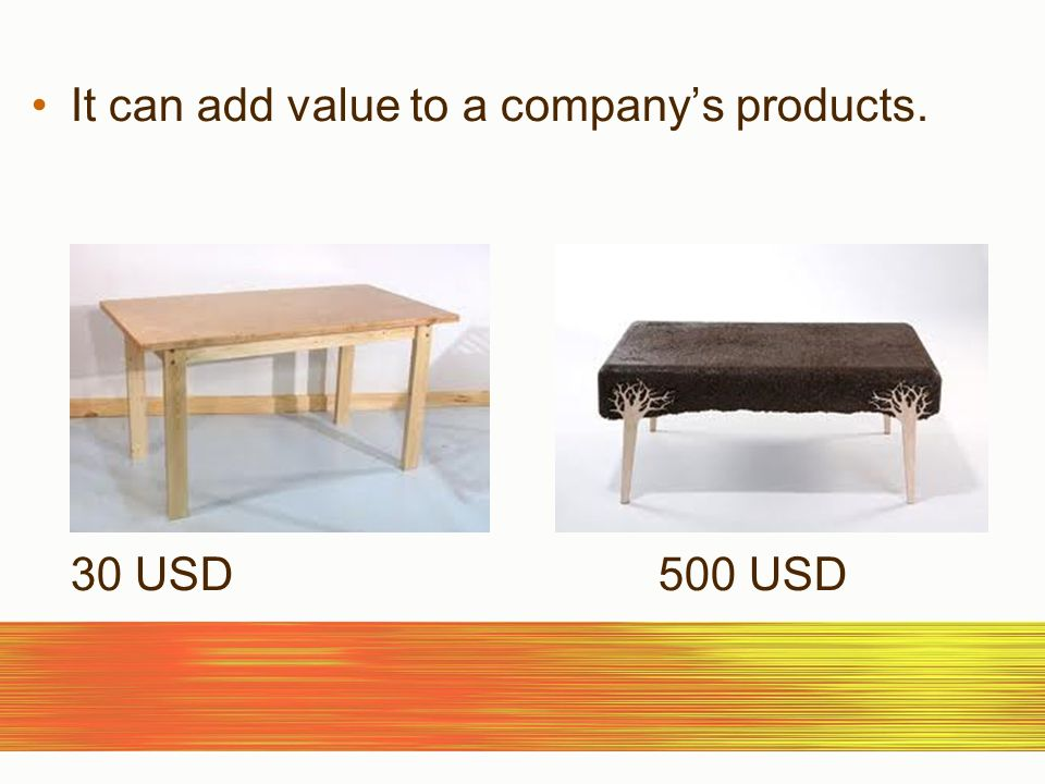 It can add value to a companys products. 30 USD500 USD
