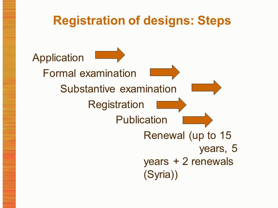 Registration of designs: Steps Application Formal examination Substantive examination Registration Publication Renewal (up to 15 years, 5 years + 2 renewals (Syria))