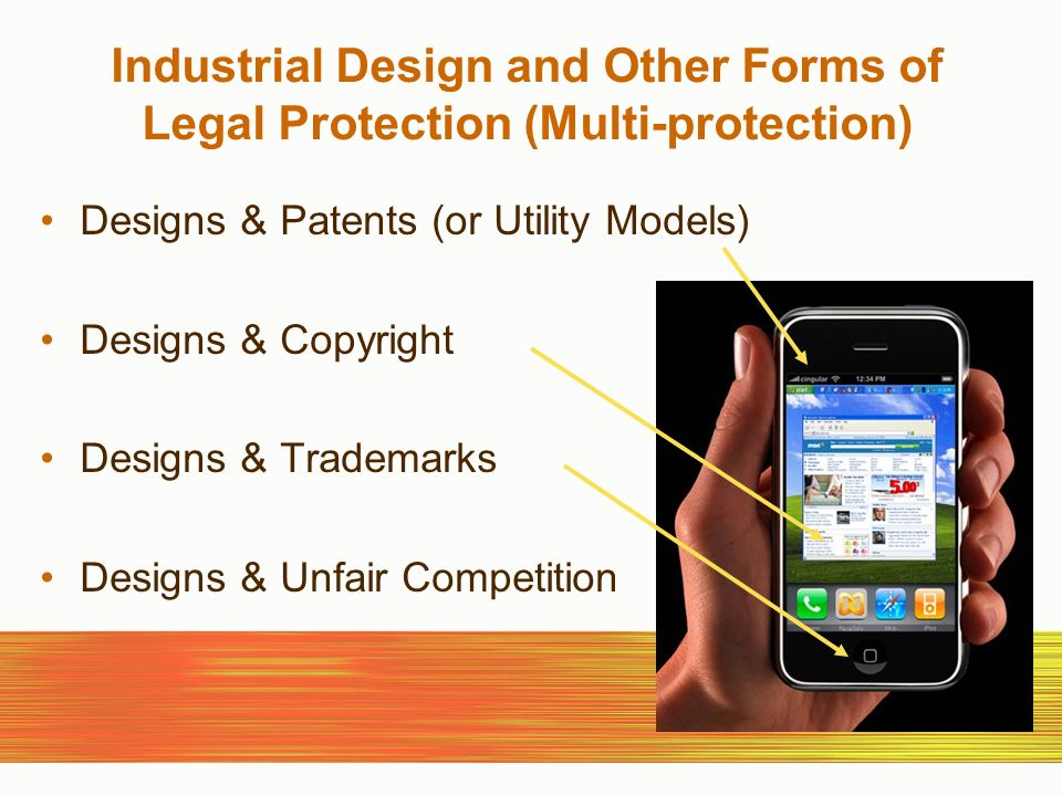 Industrial Design and Other Forms of Legal Protection (Multi-protection) Designs & Patents (or Utility Models) Designs & Copyright Designs & Trademarks Designs & Unfair Competition