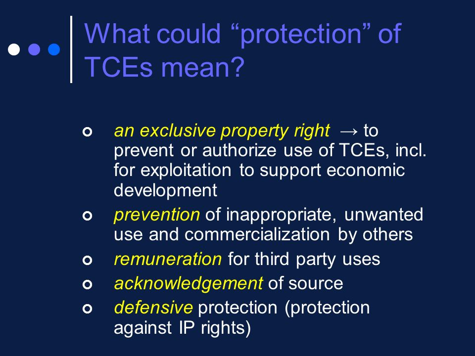 What could protection of TCEs mean? an exclusive property right to prevent or authorize use of TCEs, incl. for exploitation to support economic develo