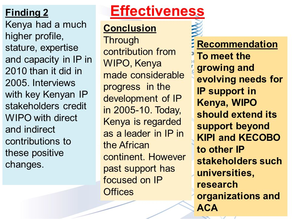 Finding 2 Kenya had a much higher profile, stature, expertise and capacity in IP in 2010 than it did in 2005.
