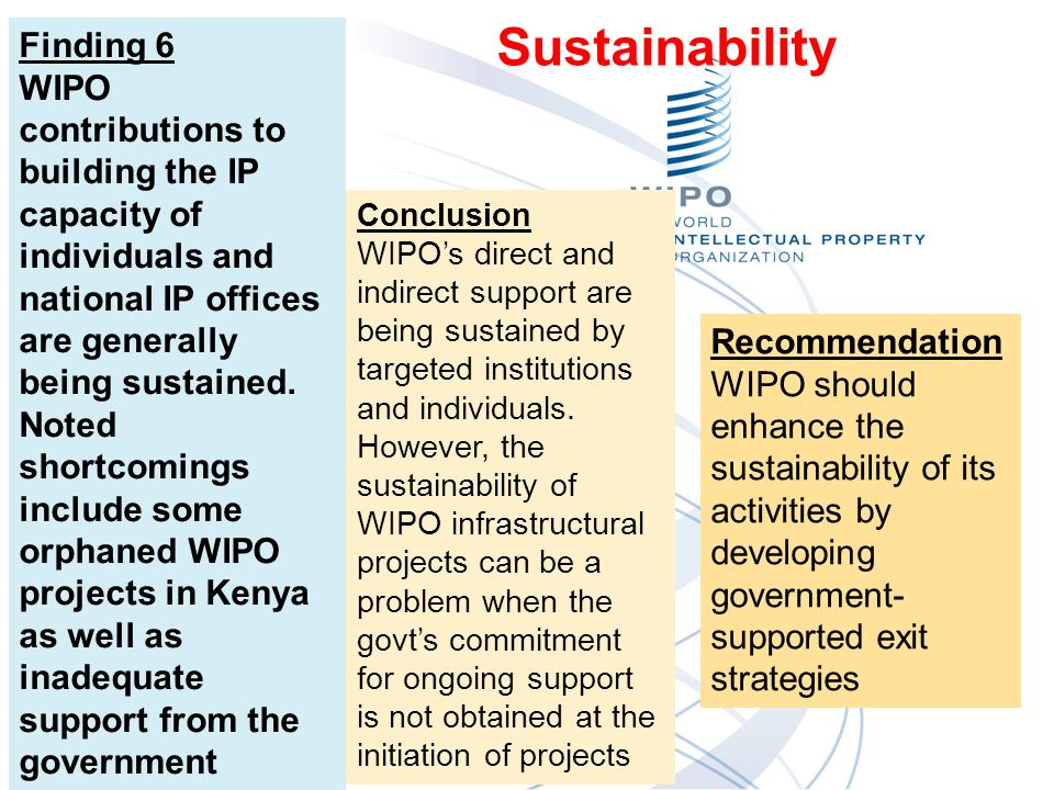 Finding 6 WIPO contributions to building the IP capacity of individuals and national IP offices are generally being sustained.