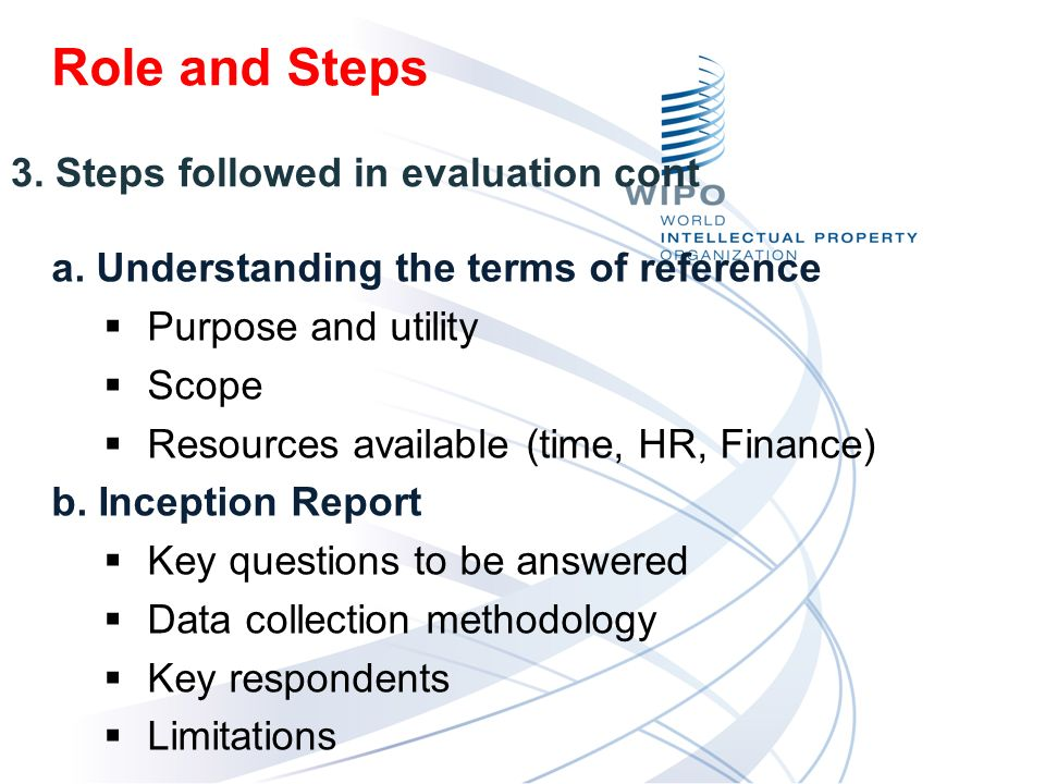 a. Understanding the terms of reference Purpose and utility Scope Resources available (time, HR, Finance) b. Inception Report Key questions to be answ