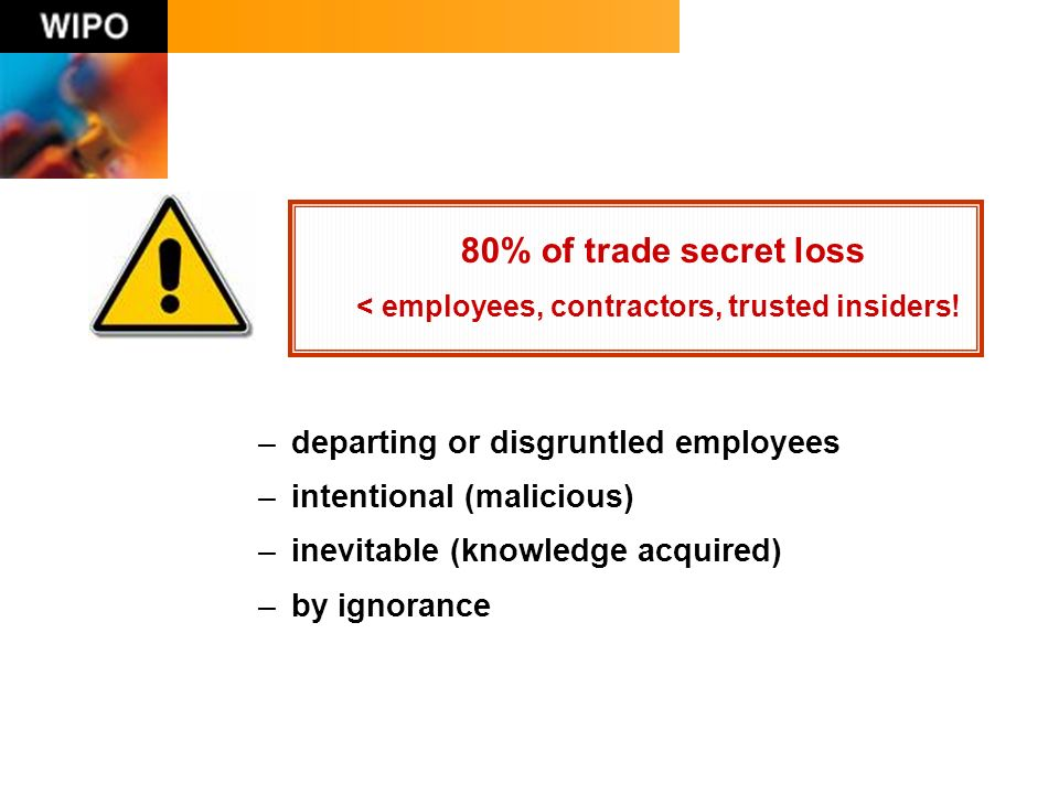 –departing or disgruntled employees –intentional (malicious) –inevitable (knowledge acquired) –by ignorance 80% of trade secret loss < employees, contractors, trusted insiders!