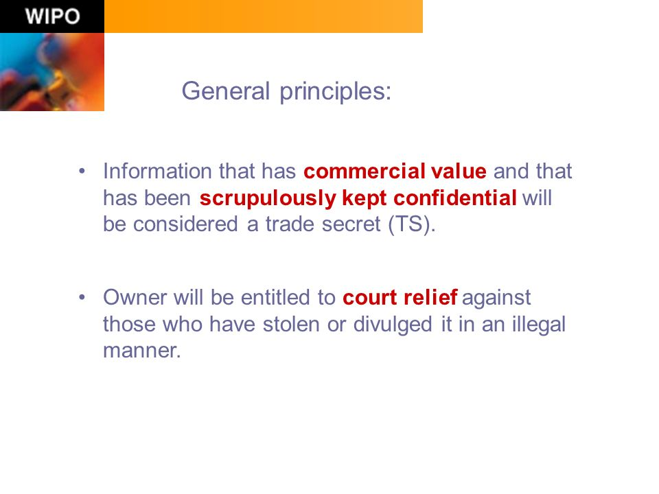 General principles: Information that has commercial value and that has been scrupulously kept confidential will be considered a trade secret (TS).