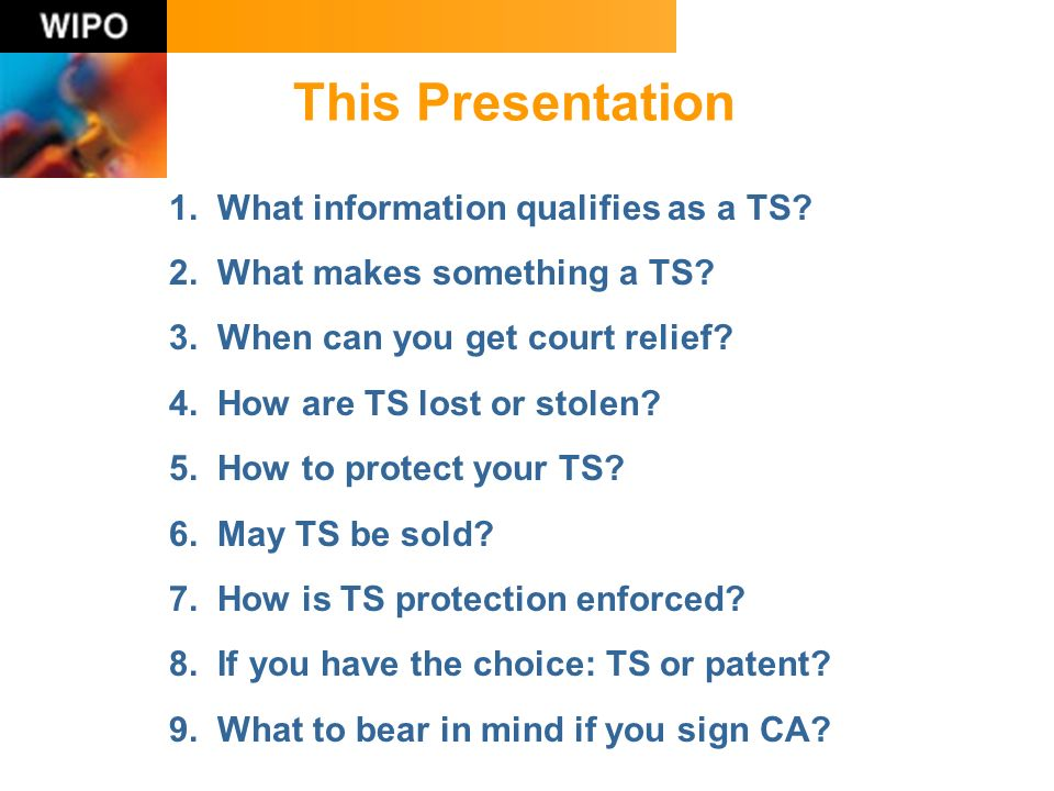 This Presentation 1. What information qualifies as a TS.
