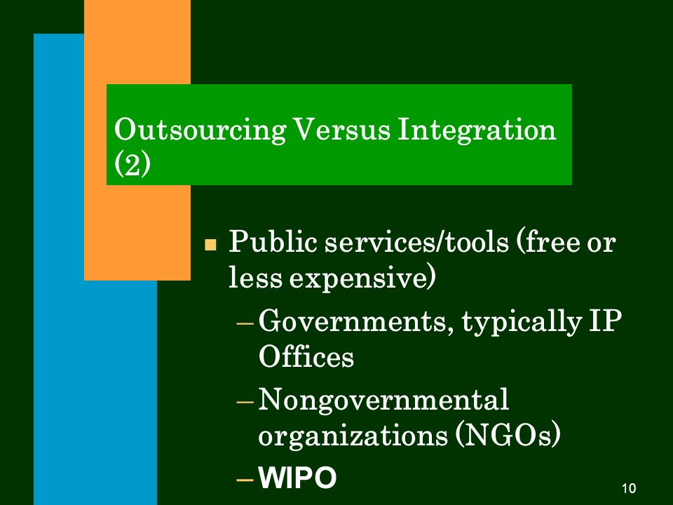 10 Outsourcing Versus Integration (2) Public services/tools (free or less expensive) –Governments, typically IP Offices –Nongovernmental organizations (NGOs) –WIPO