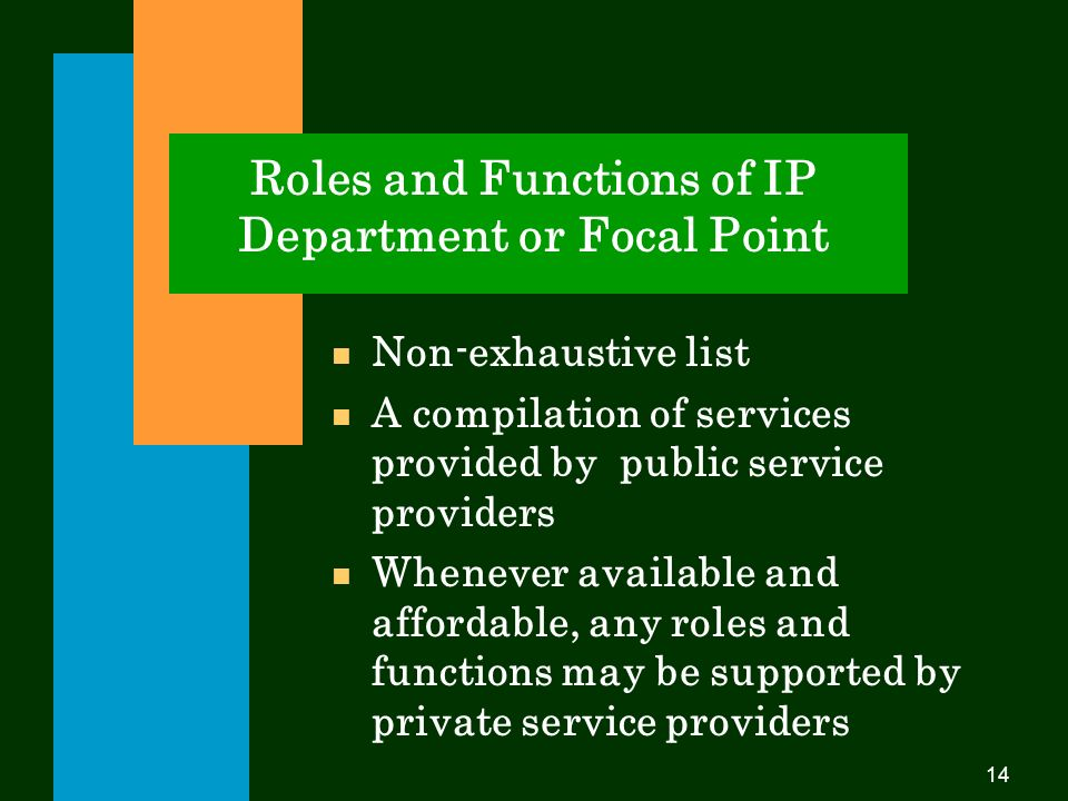 14 Roles and Functions of IP Department or Focal Point Non-exhaustive list A compilation of services provided by public service providers n Whenever available and affordable, any roles and functions may be supported by private service providers