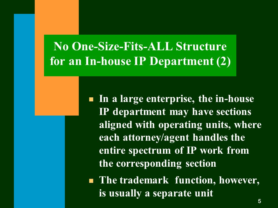 5 No One-Size-Fits-ALL Structure for an In-house IP Department (2) n In a large enterprise, the in-house IP department may have sections aligned with operating units, where each attorney/agent handles the entire spectrum of IP work from the corresponding section n The trademark function, however, is usually a separate unit