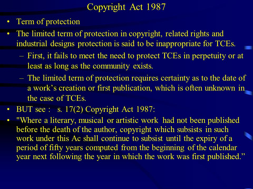 Performers Right Performers are protected under the Copyright Act under the performers right provision in relation to their live performances.