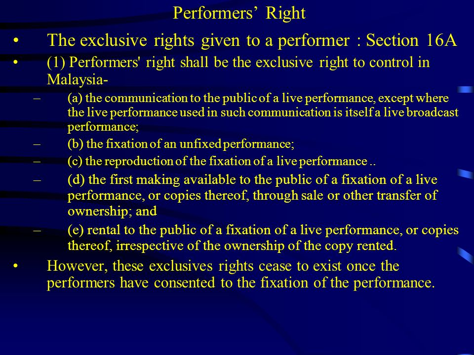 Performers Right Equitable remuneration – section 23B If there is a public performance of a sound recording of their performance, the performers are entitled to an equitable remuneration for each public performance.