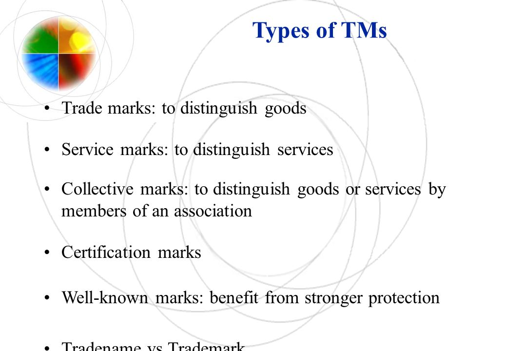 Types of TMs Trade marks: to distinguish goods Service marks: to distinguish services Collective marks: to distinguish goods or services by members of