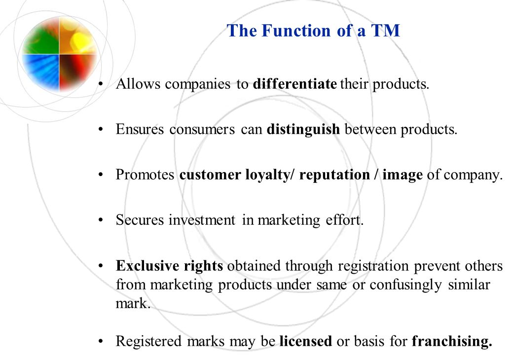 The Function of a TM Allows companies to differentiate their products.
