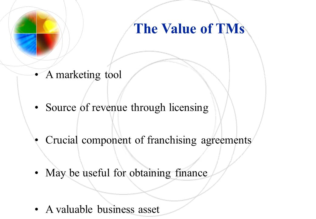 The Value of TMs A marketing tool Source of revenue through licensing Crucial component of franchising agreements May be useful for obtaining finance A valuable business asset