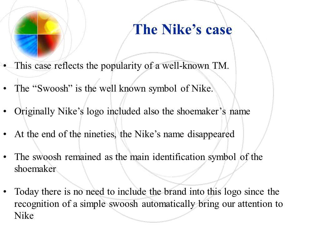 The Nikes case This case reflects the popularity of a well-known TM. The Swoosh is the well known symbol of Nike. Originally Nikes logo included also