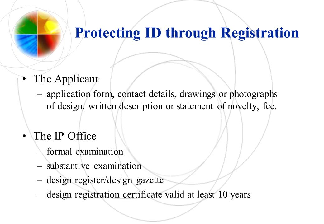 Protecting ID through Registration The Applicant –application form, contact details, drawings or photographs of design, written description or statement of novelty, fee.