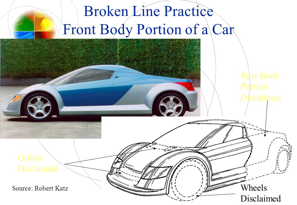 Broken Line Practice Front Body Portion of a Car Grilles Disclaimed Wheels Disclaimed Rear Body Portion Disclaimed Source: Robert Katz