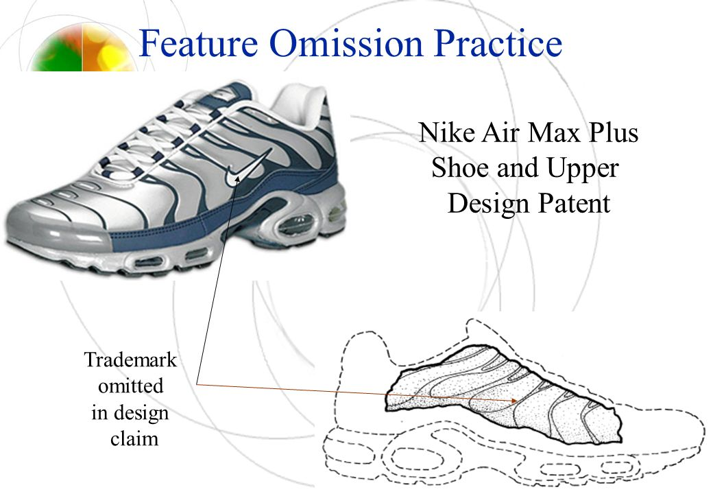 Feature Omission Practice Nike Air Max Plus Shoe and Upper Design Patent Trademark omitted in design claim