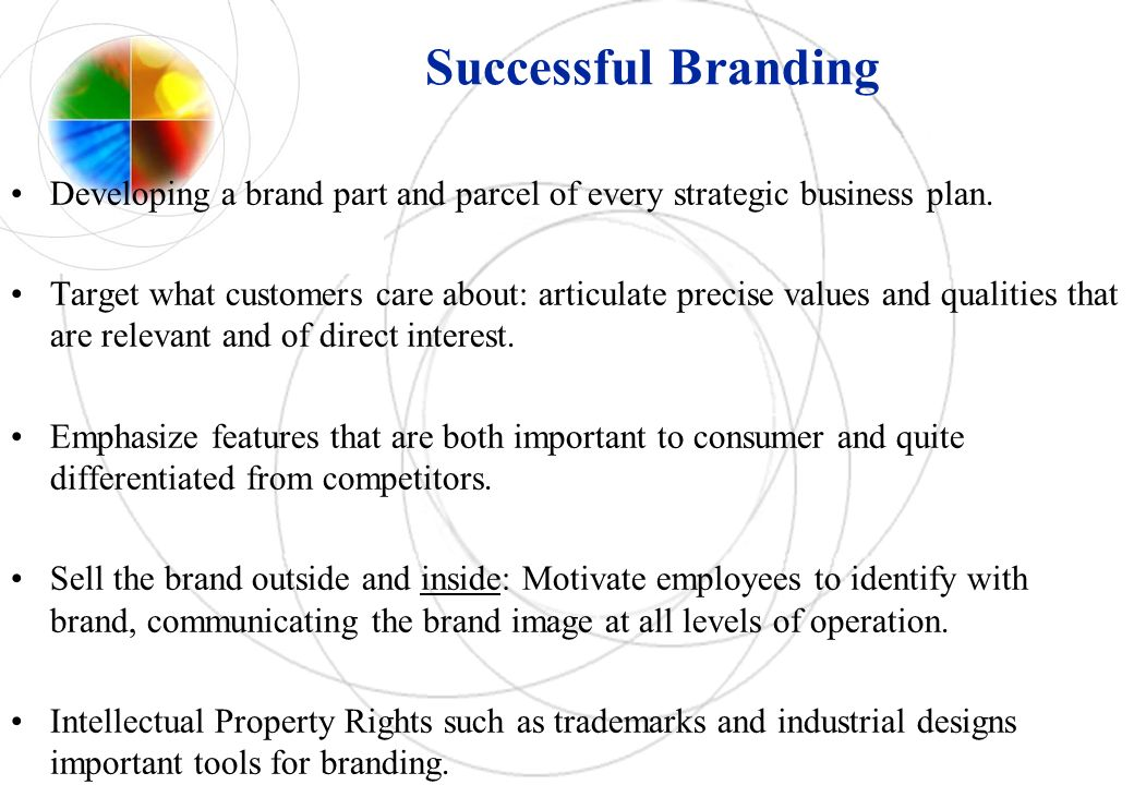 Successful Branding Developing a brand part and parcel of every strategic business plan.